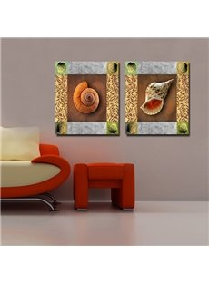 Fancy Decorative 2 Pieces Snail and Shell Pattern Framed Wall Art Prints