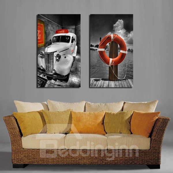 Creative Square Car and Swim Ring Pattern Framed Wall Art Prints