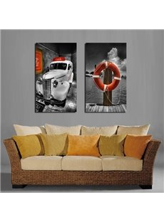 Creative Square Car and Swim Ring Pattern None Framed Wall Art Prints