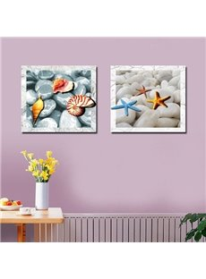 Lovely Square Starfish and Shell Pattern Canvas None Framed Wall Art Prints