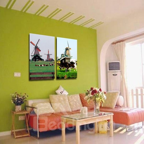 Natural Decorative Windmill Pattern Canvas None Framed Wall Art Prints