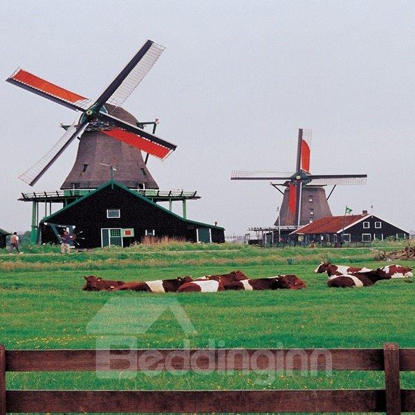 Natural Decorative Windmill Pattern Canvas None Framed Wall Art Prints