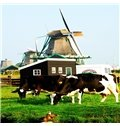 Windmills and Cows Pattern 2-Piece Canvas Waterproof and Environmental Framed Prints