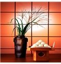 Plants and Vases Pattern Plaid Background 2-Piece Canvas Waterproof Framed Prints