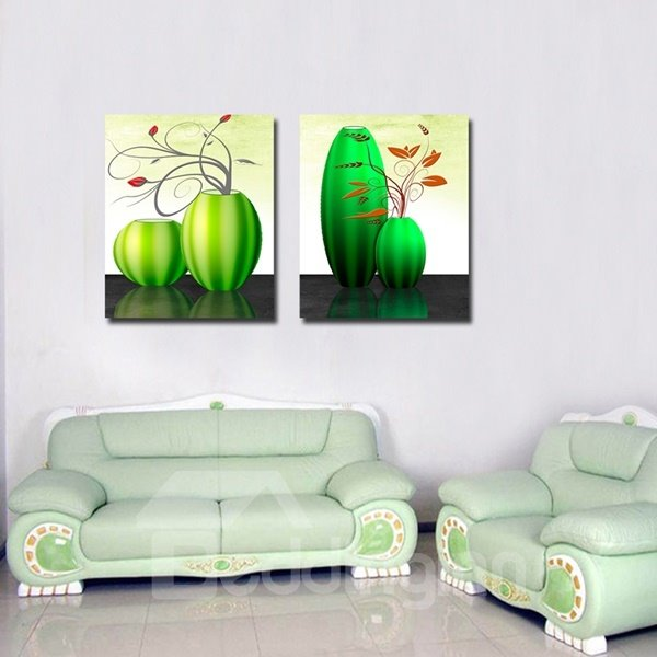 Green Vases and Flowers Pattern 2-Piece Canvas Waterproof Framed Prints
