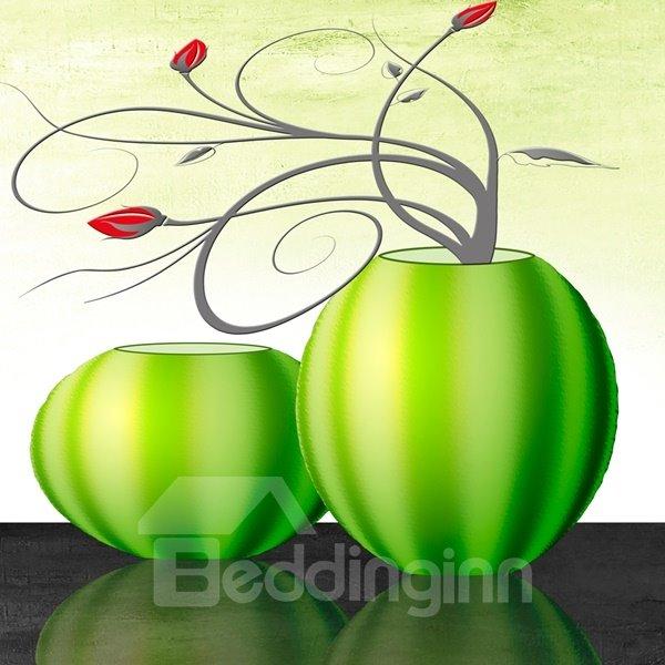Modern Creative Flower and Green Vase Pattern None Framed Wall Art Prints