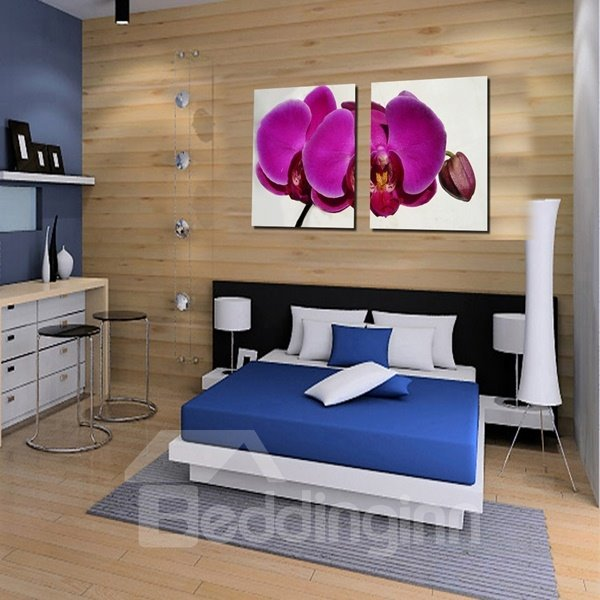 White Square With Purple Butterfly Orchid Pattern None Framed Wall Art Prints