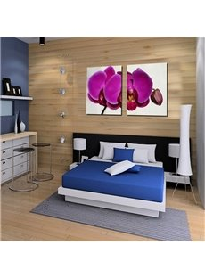 White Square with 3D Purple Butterfly Orchid Printed Pattern Framed Prints