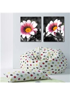 Black Square with Pink Flower Pattern 2-Piece Canvas Waterproof Framed Prints