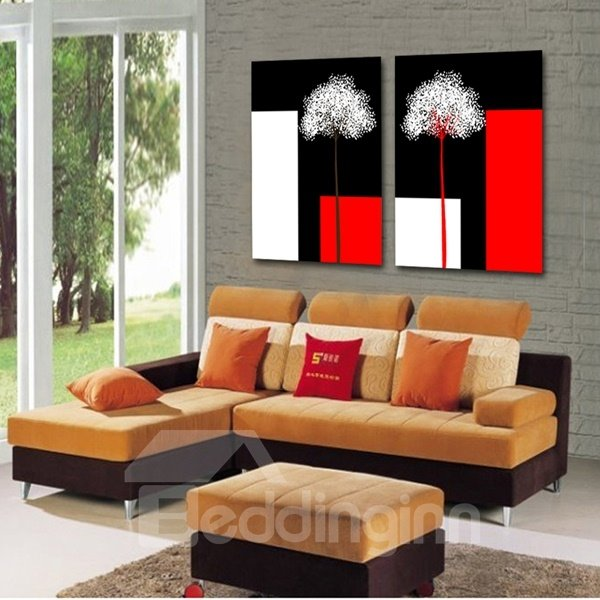 White Dandelion Pattern 2-Piece Square Red Black and White Waterproof Framed Prints