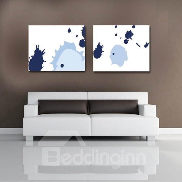 White Square with blue Pattern Framed Canvas Wall Art Prints