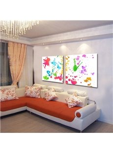 Simple Style Colorful Paint Pattern 2 Pieces Framed Wall Art Prints