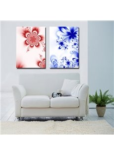 Blue and Red Flower Pattern 2 Pieces Decorative None Framed Wall Art Prints