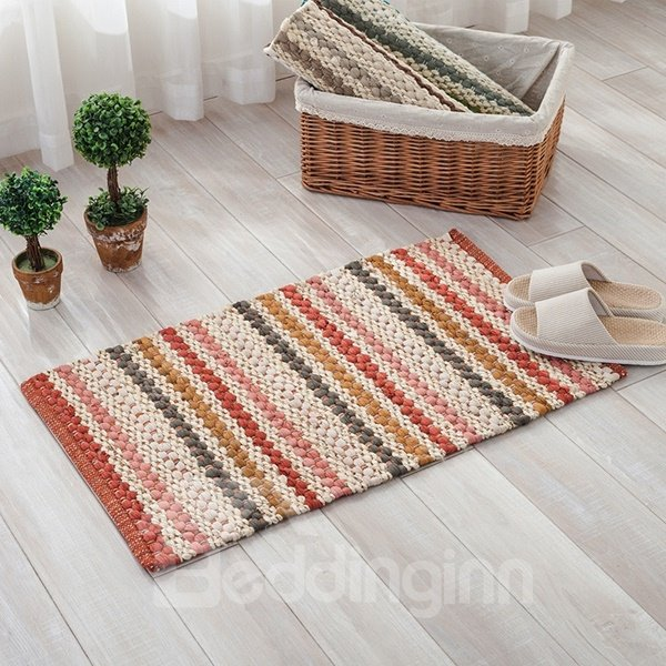 Handmade Rectangle Wearproof Slip Resistant Cotton Decorative Doormat