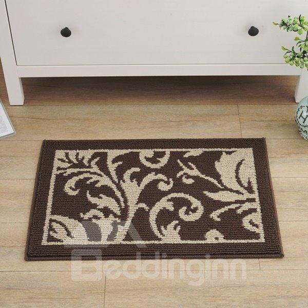 Modern Design Polypropylene Fiber Leaves Pattern Slip Resistant Doormat