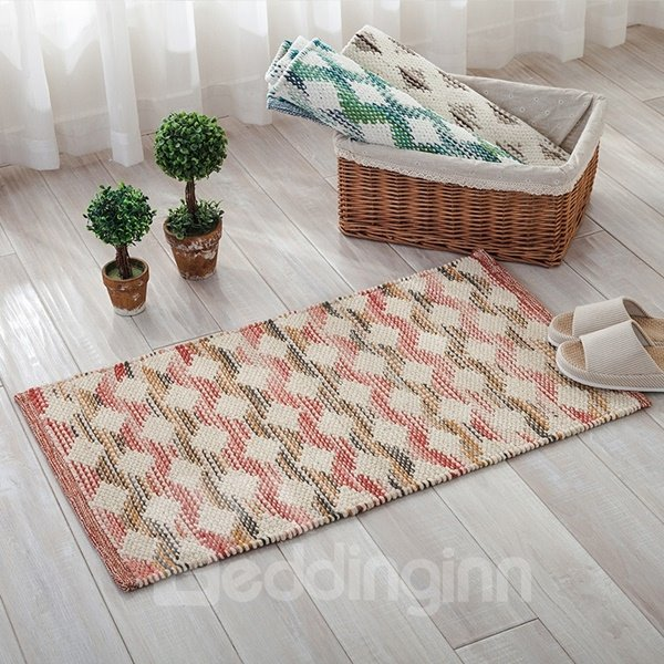Hand-knitted Rectangle Three Colors Wave Pattern Slip Resistant Doormat