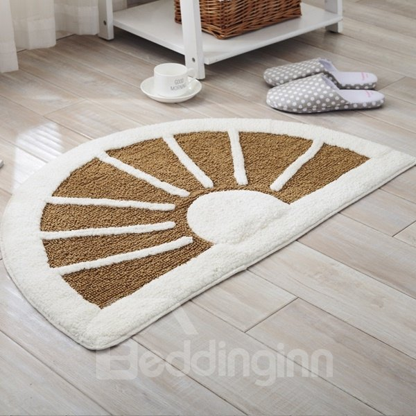 Lovely Semicircle Cotton Chenille Sunshine Pattern Slip Resistant Doormat