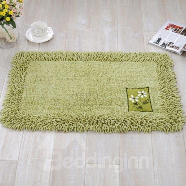 Rectangle Slip Resistant Cotton Chenille Pure Color Home Decorative Doormat