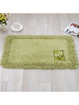 Rectangle Slip Resistant Cotton Chenille Pure Color Home Decorative Doormat
