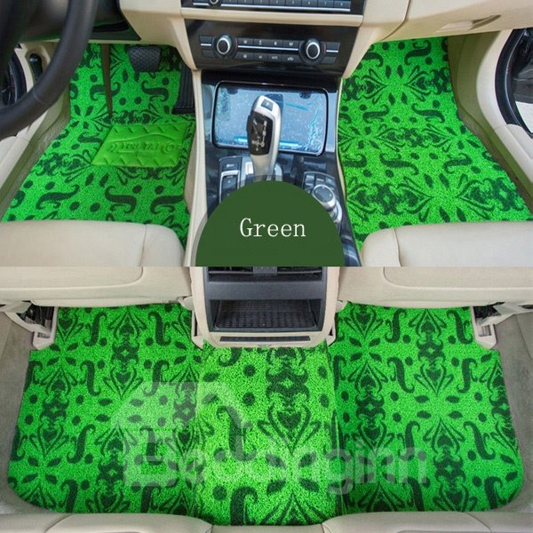 Magic Regular Pattern Green Color Design Waterproof Anti-Dirty Dedicated Car Carpet