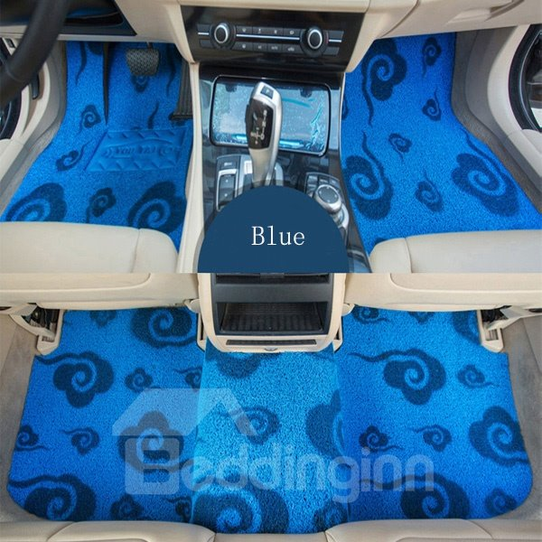 Lucky Clouds Pattern Design Bright Blue Color Front And Rear Dedicated Car Carpet