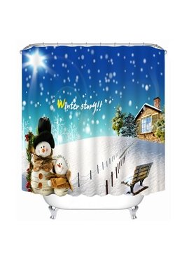 Lovely Snowman and Cabin Printing Christmas Theme Bathroom 3D Shower Curtain