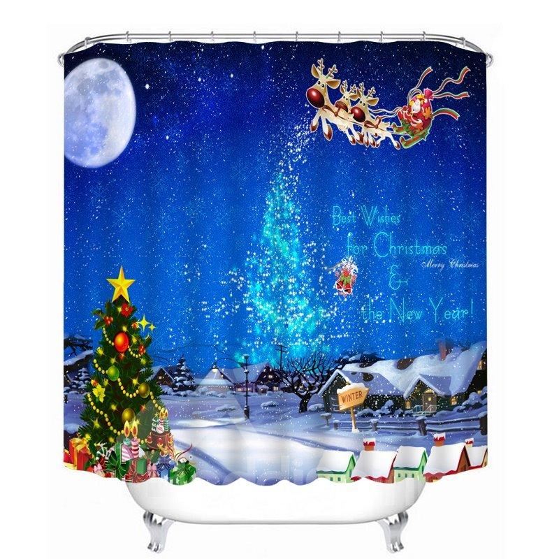 Santa Riding Reindeer in the Sky Printing Christmas Theme Bathroom 3D Shower Curtain