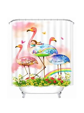 Cartoon Girl Riding Flamingo Printing Bathroom 3D Shower Curtain
