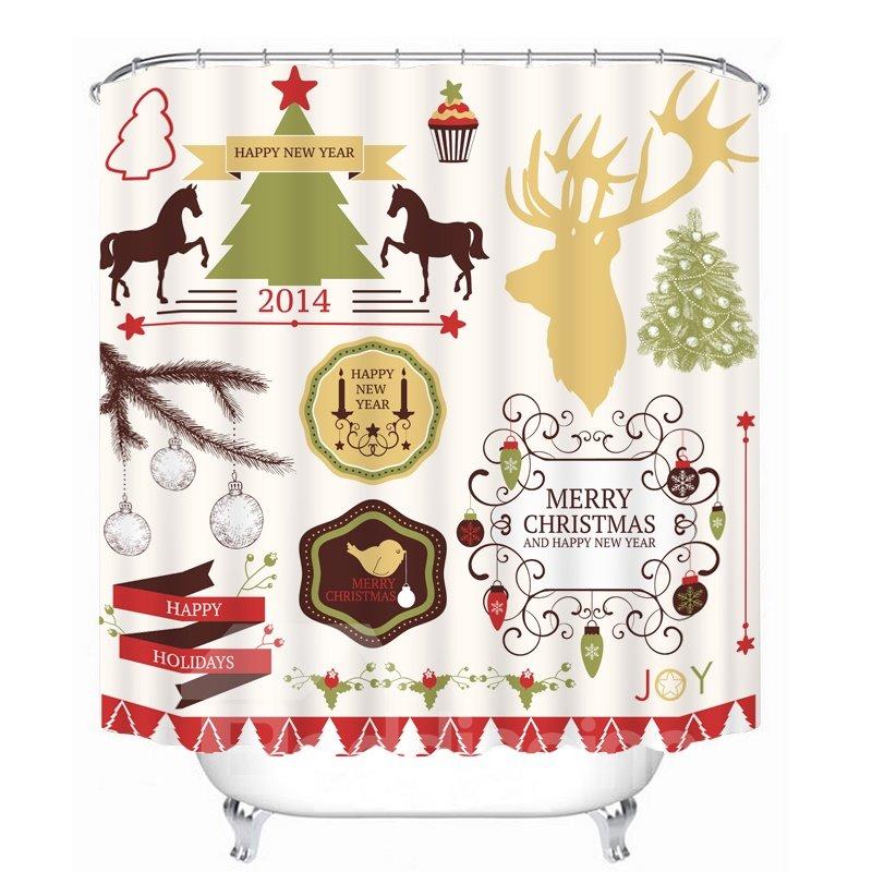 Clip Art Christmas Theme Decors Printing Bathroom 3D Shower Curtain