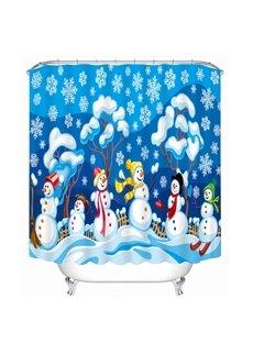Cute Cartoon Snowmen Playing Printing Christmas Theme Bathroom 3D Shower Curtain
