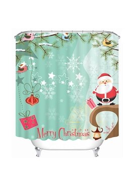 Clip Art Cute Santa Printing Christmas Theme Bathroom 3D Shower Curtain