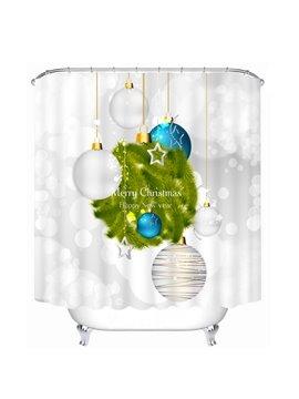White and Blue Christmas Lighting Decor Printing Christmas Theme Bathroom 3D Shower Curtain