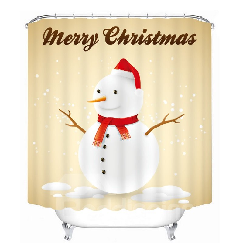 Cute Snowman with Red Scarf and Christmas Hat Printing Christmas Theme Bathroom 3D Shower Curtain