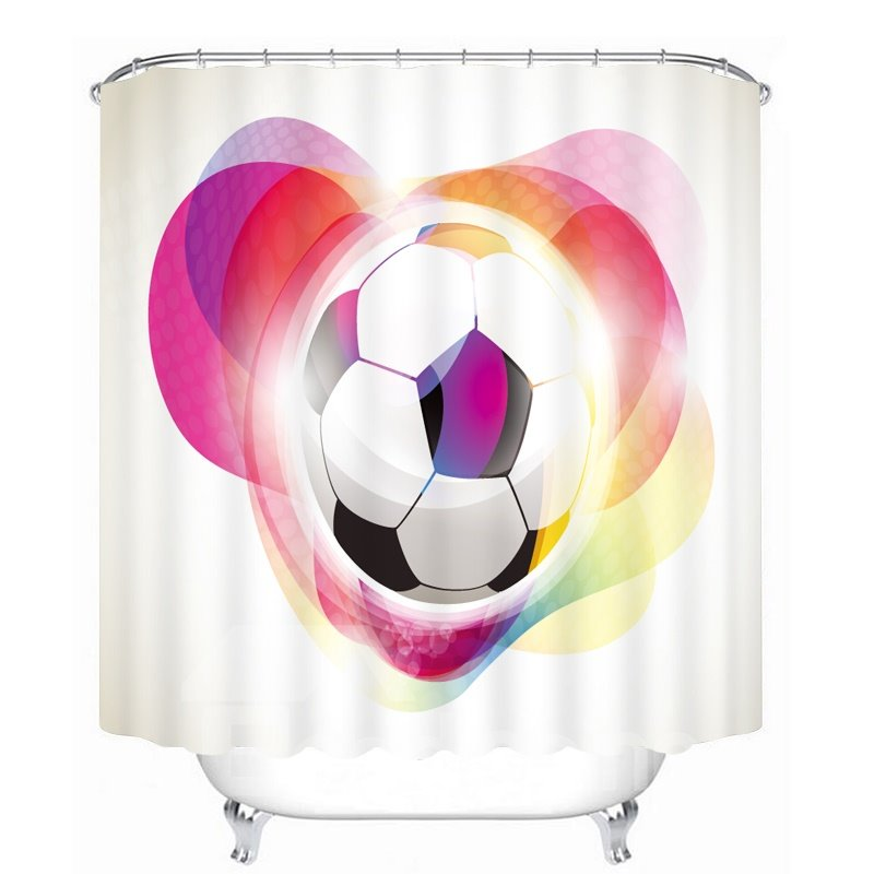 Cartoon Soccer with Color Printing Bathroom 3D Shower Curtain