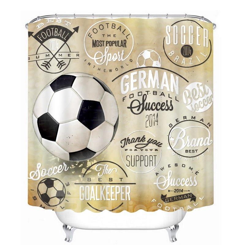 Inspiring Soccer Printing Bathroom 3D Shower Curtain