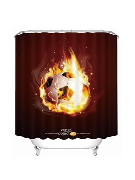 Magic Fire Soccer Printing Christmas Theme Bathroom 3D Shower Curtain