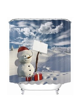 Cute Snowman with Gift Printing Printing Christmas Theme Bathroom 3D Shower Curtain