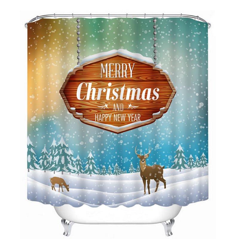 Reindeer in the Snow Printing Christmas Theme Bathroom 3D Shower Curtain