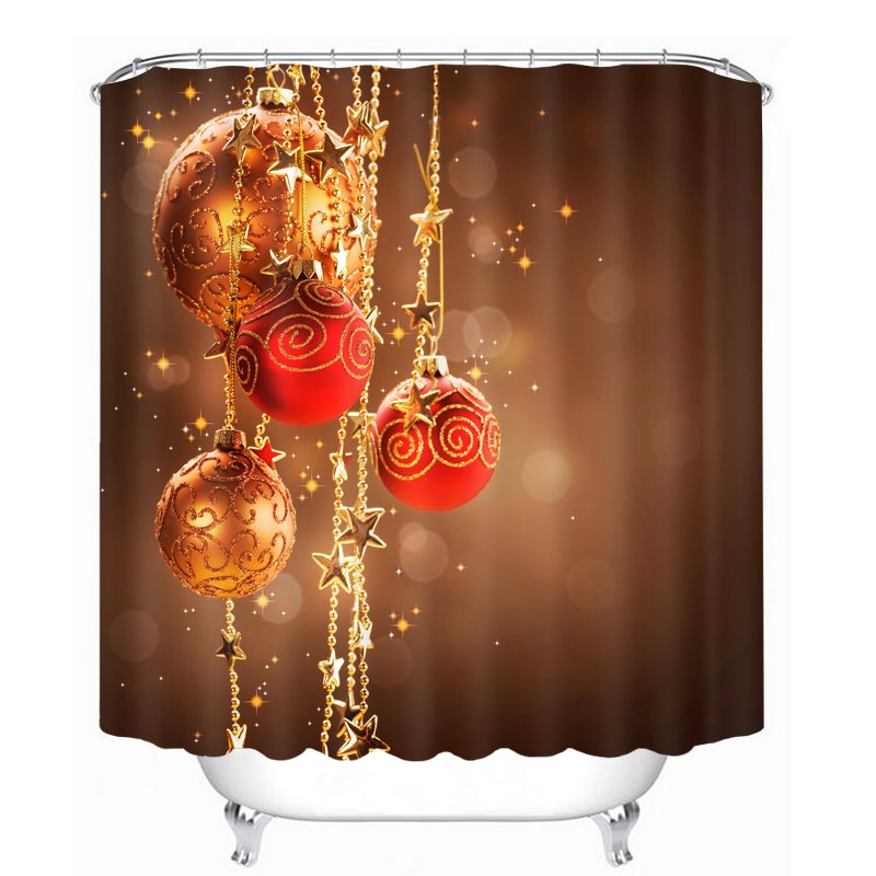 Dreamlike Red Christmas Balls Decor Printing Christmas Theme Bathroom 3D Shower Curtain