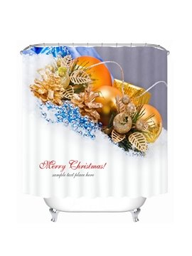Golden Christmas Balls Decor Printing Christmas Theme Bathroom 3D Shower Curtain