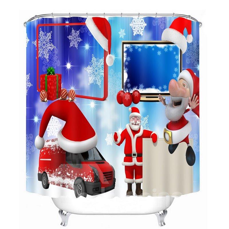 Cute Cartoon Santa and Red Car Printing Printing Christmas Theme Bathroom 3D Shower Curtain