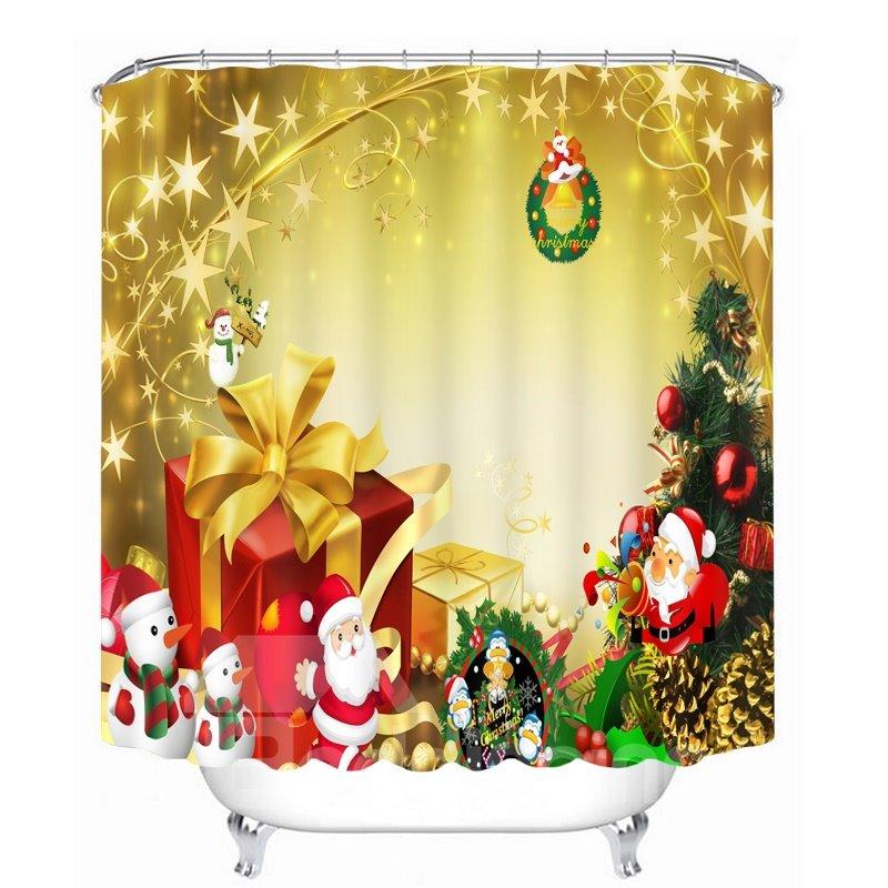 Cute Santa with Presents Printing Christmas Printing Bathroom 3D Shower Curtain
