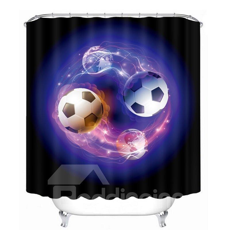 Two Magic Footballs Printing Bathroom 3D Shower Curtain