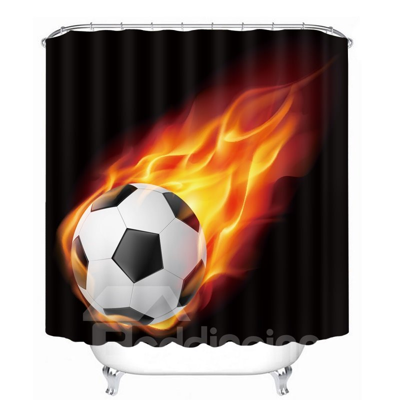 Amazing Fire Soccer Printing Bathroom 3D Shower Curtain