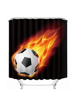 Amazing Fire Soccer Printing Bathroom 3D Shower Curtain