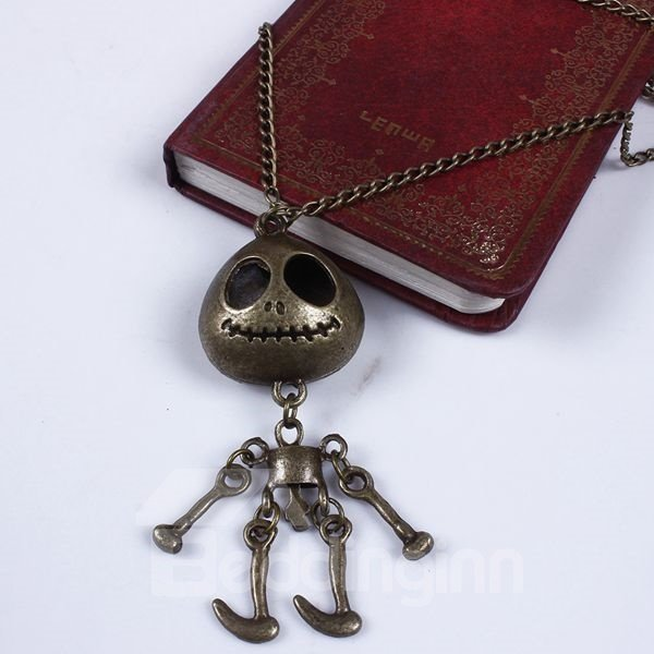 Halloween Style Vintage Cartoon Skull Pendant Necklace