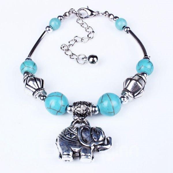 Vintage Style Turquoise Elephant Bracelet