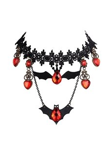 Halloween Style Black Lace Bat Shape Pendant Necklace