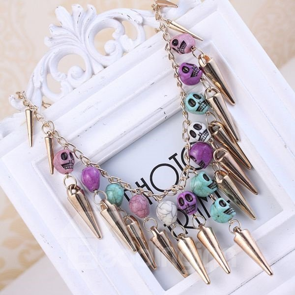 Halloween Style Colorful Skulls Statement Necklace