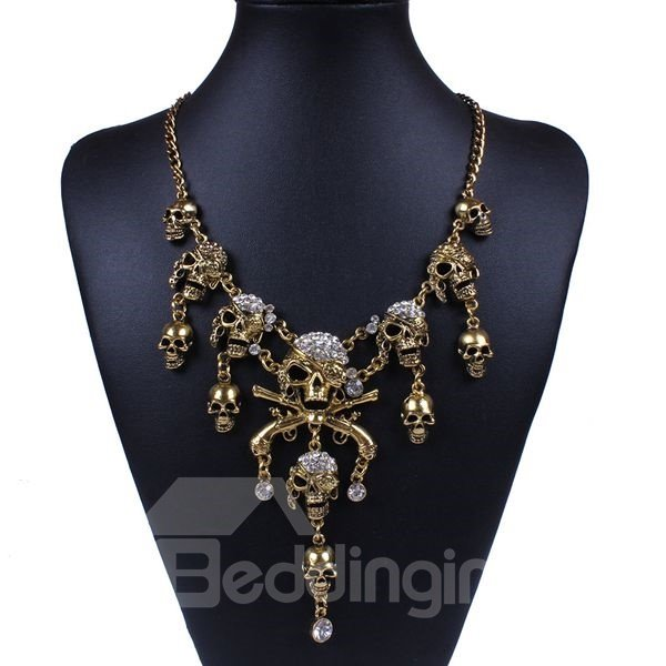 Halloween Style Two Colors for Choose Skulls Statement Necklace